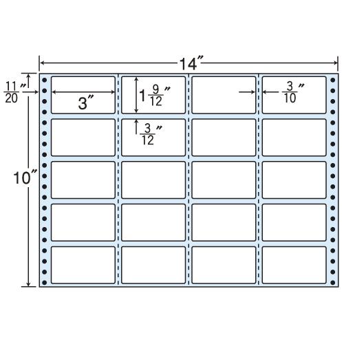 東洋印刷 タックシール nana レギュラータイプ (連続ラベル) 500折 M14i