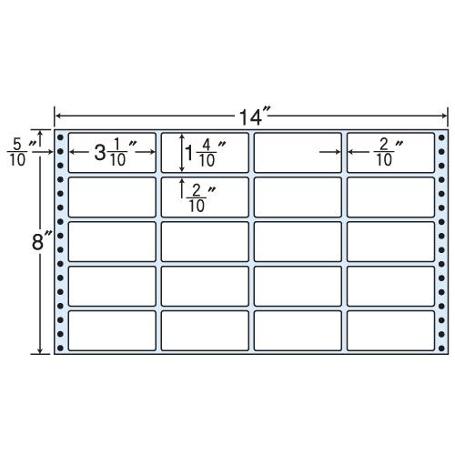 東洋印刷 タックシール nana レギュラータイプ (連続ラベル) 500折 MT14V