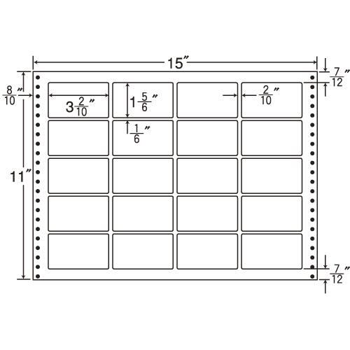 東洋印刷 タックシール nana 耐熱タイプ (連続ラベル) 500折 LT15P