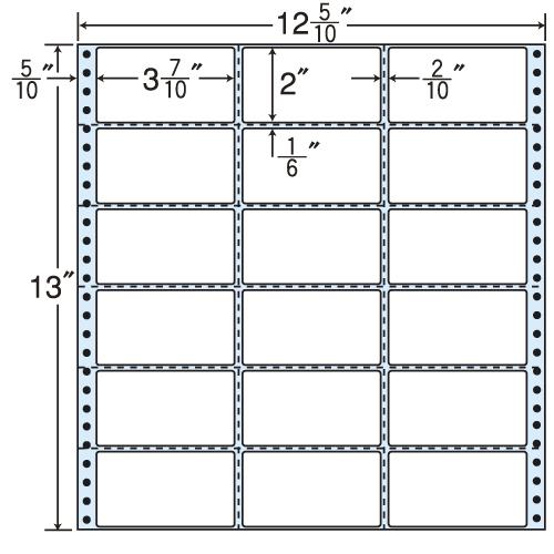東洋印刷 タックシール nana レギュラータイプ (連続ラベル) 500折 MX12Z