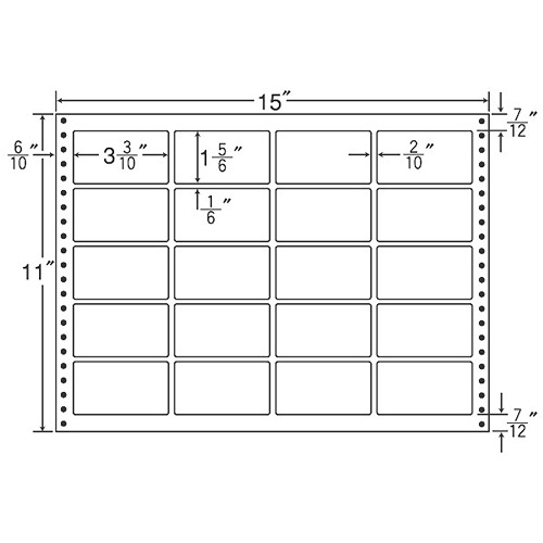 東洋印刷 タックシール nana 耐熱タイプ (連続ラベル) 500折 LT15X