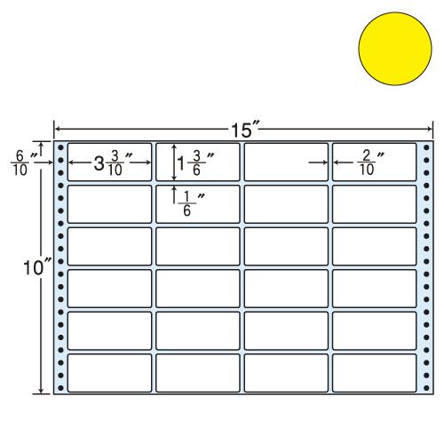 東洋印刷 タックシール nana カラータイプ (連続ラベル) イエロー 500折 M15FY