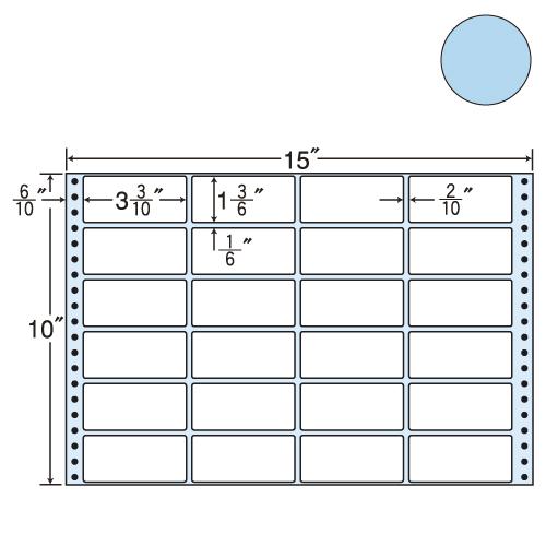 東洋印刷 タックシール nana カラータイプ (連続ラベル) ブルー 500折 M15FB