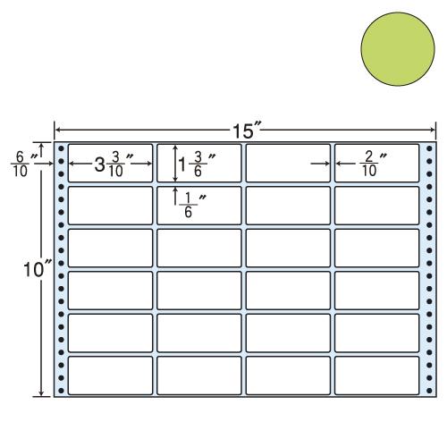 東洋印刷 タックシール nana カラータイプ (連続ラベル) グリーン 500折 M15FG