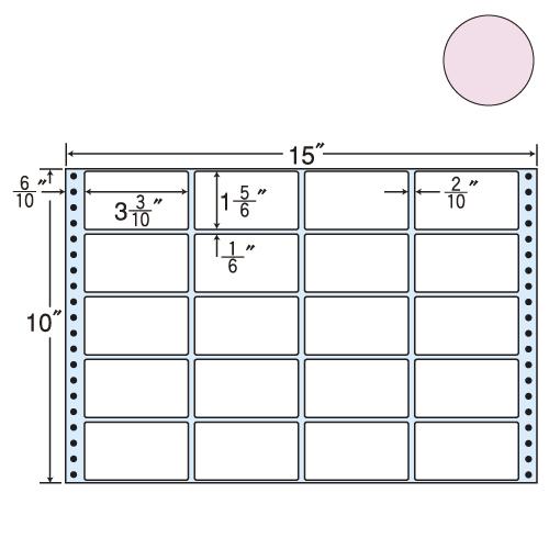 東洋印刷 タックシール nana カラータイプ (連続ラベル) ピンク 500折 M15EP