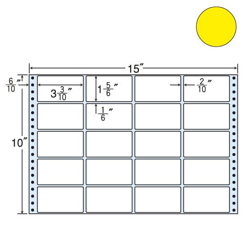 東洋印刷 タックシール nana カラータイプ (連続ラベル) イエロー 500折 M15EY