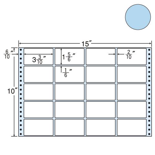 東洋印刷 タックシール nana カラータイプ (連続ラベル) ブルー 500折 M15EB
