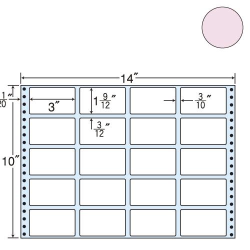 東洋印刷 タックシール nana カラータイプ (連続ラベル) ピンク 500折 MT14JP