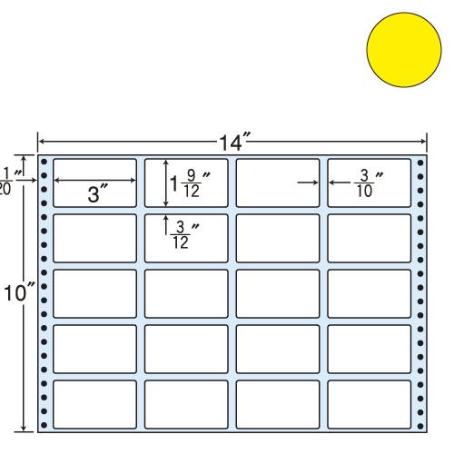 東洋印刷 タックシール nana カラータイプ (連続ラベル) イエロー 500折 MT14JY