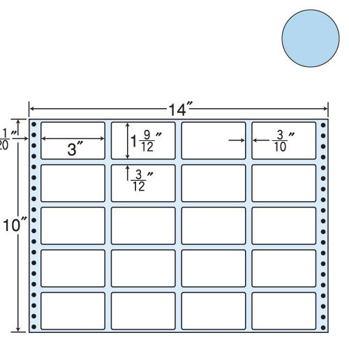 東洋印刷 タックシール nana カラータイプ (連続ラベル) ブルー 500折 MT14JB