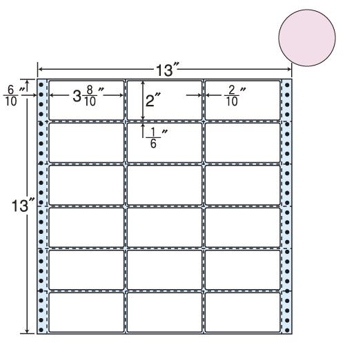 東洋印刷 タックシール nana カラータイプ (連続ラベル) ピンク 500折 M13AP