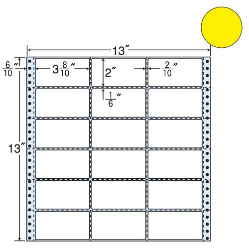 東洋印刷 タックシール nana カラータイプ (連続ラベル) イエロー 500折 M13AY