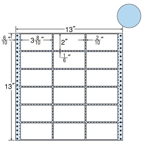 東洋印刷 タックシール nana カラータイプ (連続ラベル) ブルー 500折 M13AB