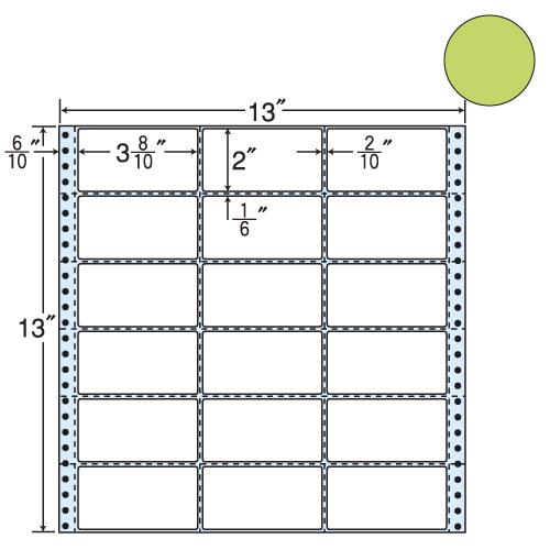 東洋印刷 タックシール nana カラータイプ (連続ラベル) グリーン 500折 M13AG