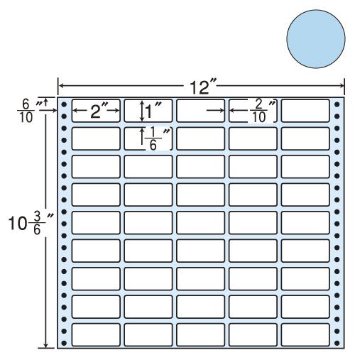 東洋印刷 タックシール nana カラータイプ (連続ラベル) ブルー 500折 M12CB