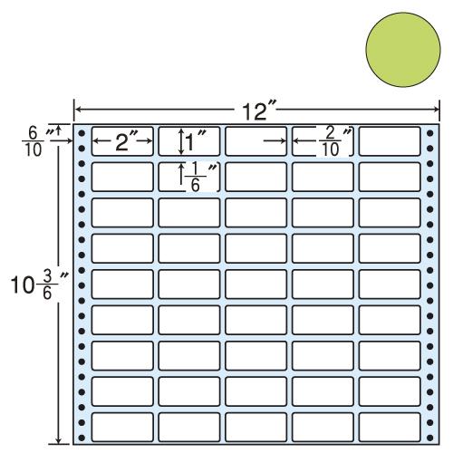 東洋印刷 タックシール nana カラータイプ (連続ラベル) グリーン 500折 M12CG