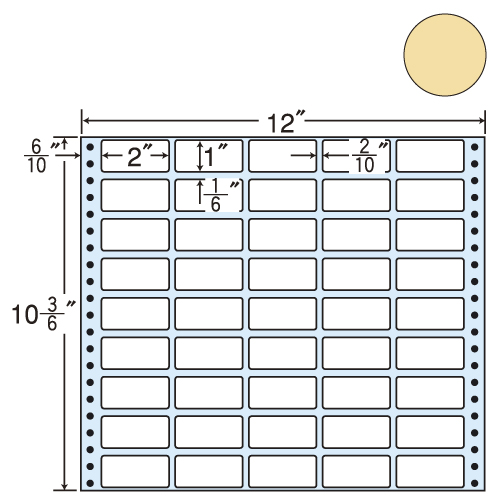 東洋印刷 タックシール nana カラータイプ (連続ラベル) ベージュ 500折 M12CH
