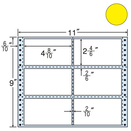 東洋印刷 タックシール nana カラータイプ (連続ラベル) イエロー 500折 M11BY
