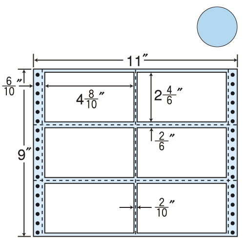 東洋印刷 タックシール nana カラータイプ (連続ラベル) ブルー 500折 M11BB