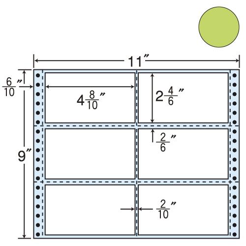 東洋印刷 タックシール nana カラータイプ (連続ラベル) グリーン 500折 M11BG