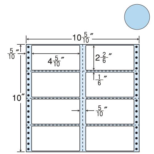 東洋印刷 タックシール nana カラータイプ (連続ラベル) ブルー 500折 M10CB