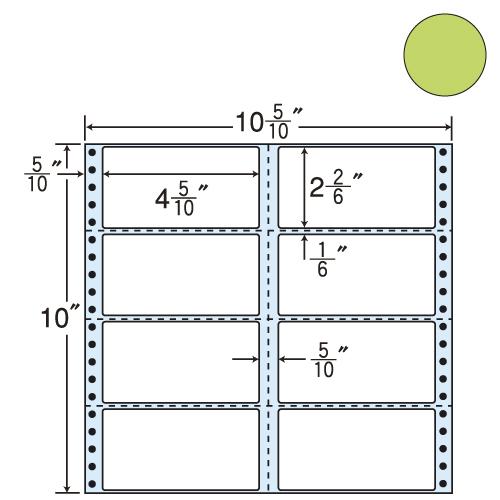 東洋印刷 タックシール nana カラータイプ (連続ラベル) グリーン 500折 M10CG