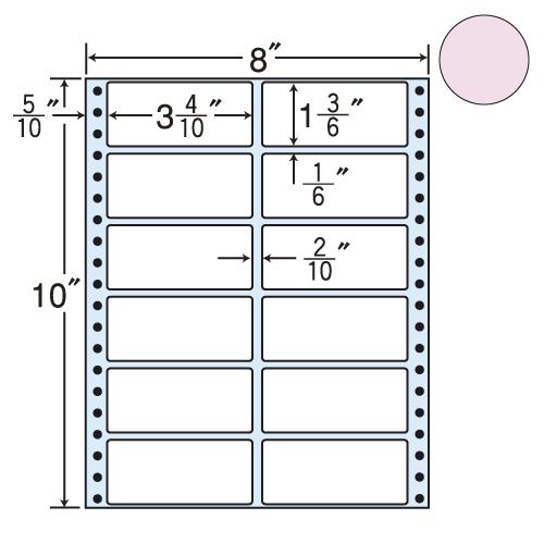 東洋印刷 タックシール nana カラータイプ (連続ラベル) ピンク 500折 MM8AP