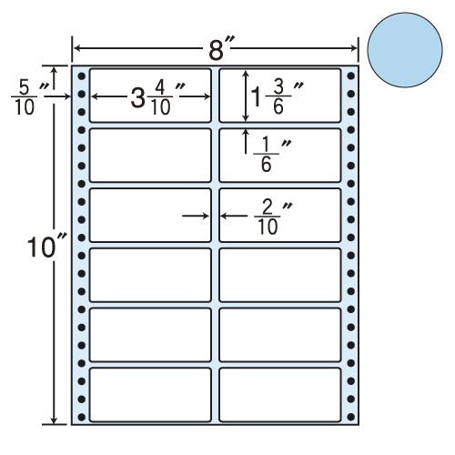 東洋印刷 タックシール nana カラータイプ (連続ラベル) ブルー 500折 MM8AB