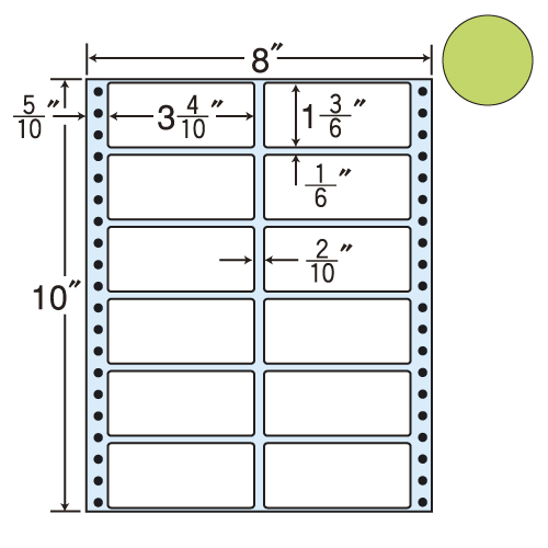 東洋印刷 タックシール nana カラータイプ (連続ラベル) グリーン 500折 MM8AG