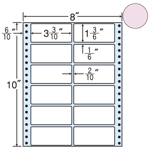東洋印刷 タックシール nana カラータイプ (連続ラベル) ピンク 500折 MT8CP