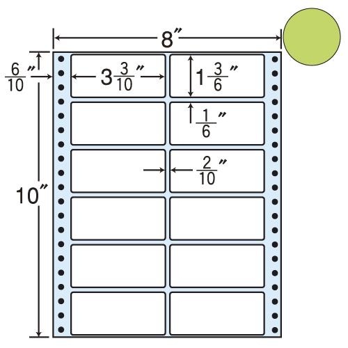 東洋印刷 タックシール nana カラータイプ (連続ラベル) グリーン 500折 MT8CG