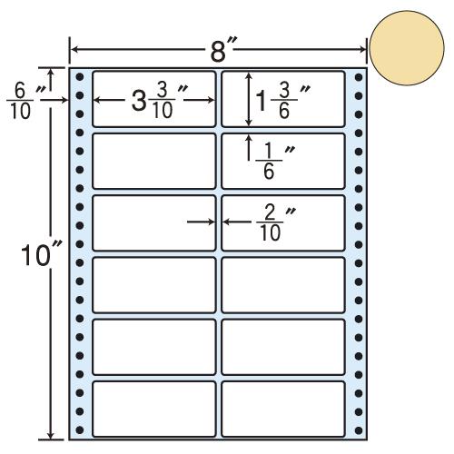 東洋印刷 タックシール nana カラータイプ (連続ラベル) ベージュ 500折 MT8CH