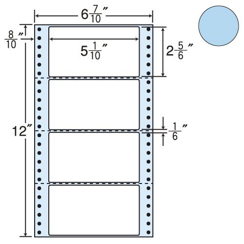 東洋印刷 タックシール nana カラータイプ (連続ラベル) ブルー 1000折 MM6AB