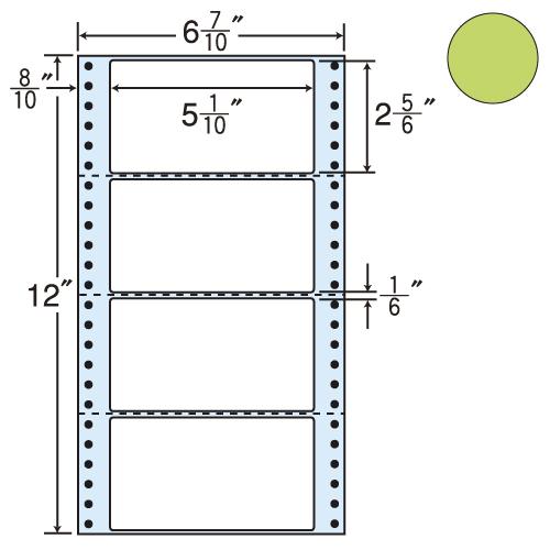 東洋印刷 タックシール nana カラータイプ (連続ラベル) グリーン 1000折 MM6AG