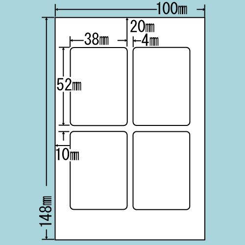 東洋印刷 カラーインクジェット用光沢ラベル nana はがき 100シート SCJH2(L)