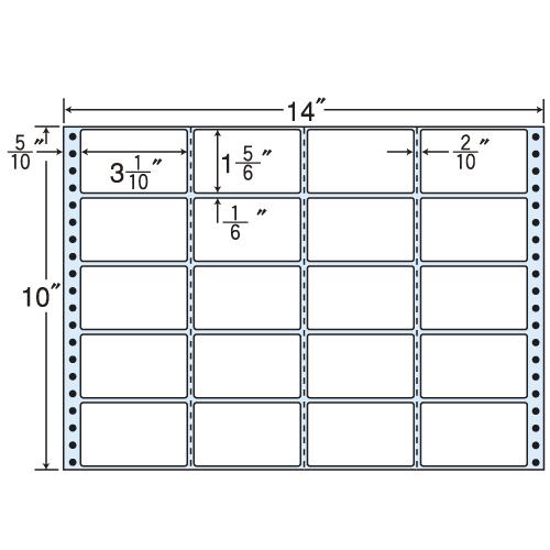 東洋印刷 タックシール nana レギュラータイプ (連続ラベル) 500折 M14M: