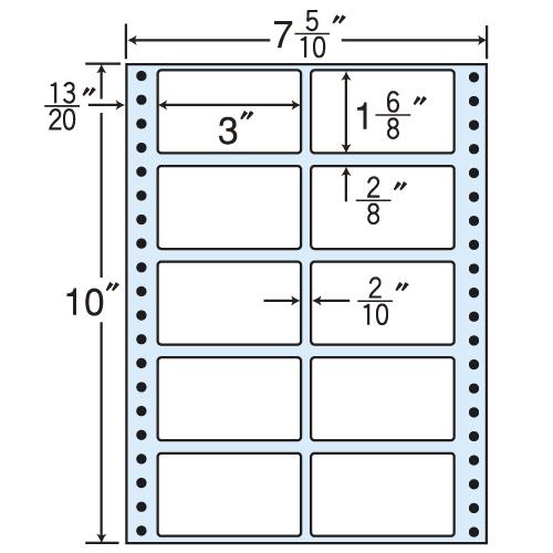 東洋印刷 タックシール nana レギュラータイプ (連続ラベル) 500折×2 MT7E: