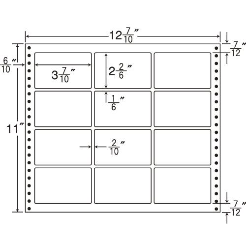 東洋印刷 タックシール nana 耐熱タイプ (連続ラベル) 500折 L12B: