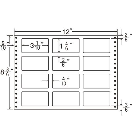 東洋印刷 タックシール nana 耐熱タイプ (連続ラベル) 500折 LT12N: