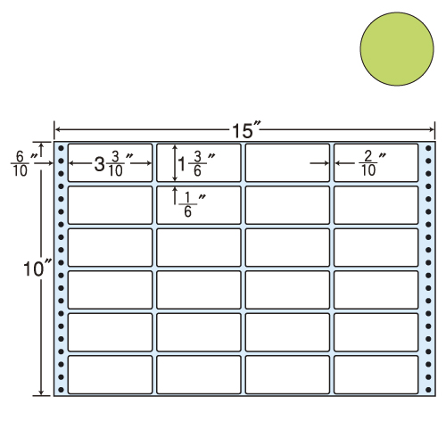 東洋印刷 タックシール nana カラータイプ (連続ラベル) グリーン 500折 M15FG: