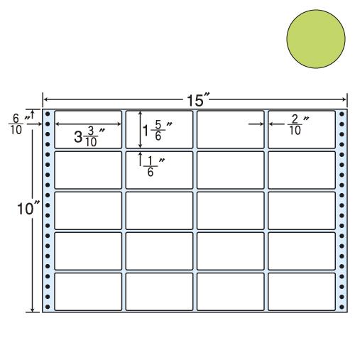 東洋印刷 タックシール nana カラータイプ (連続ラベル) グリーン 500折 M15EG: