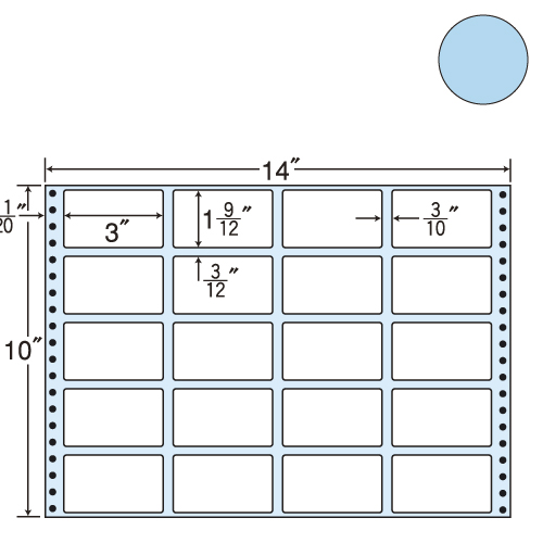東洋印刷 タックシール nana カラータイプ (連続ラベル) ブルー 500折 MT14JB: