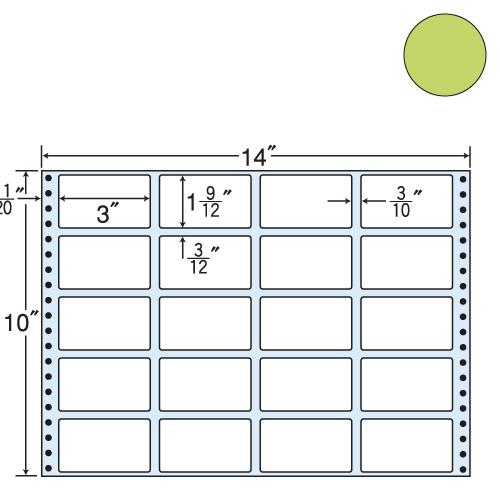 東洋印刷 タックシール nana カラータイプ (連続ラベル) グリーン 500折 MT14JG: