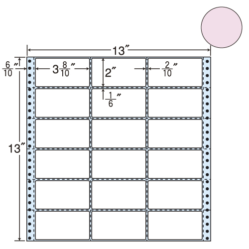 東洋印刷 タックシール nana カラータイプ (連続ラベル) ピンク 500折 M13AP: