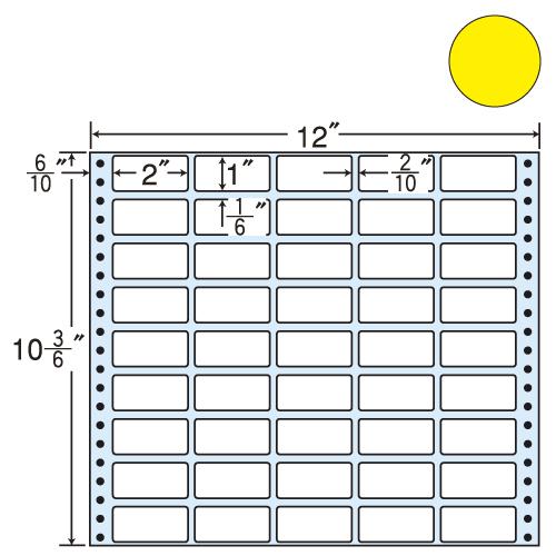 東洋印刷 タックシール nana カラータイプ (連続ラベル) イエロー 500折 M12CY: