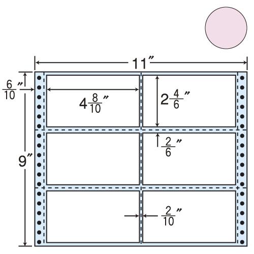 東洋印刷 タックシール nana カラータイプ (連続ラベル) ピンク 500折 M11BPP: