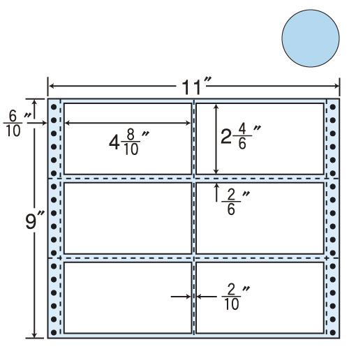 東洋印刷 タックシール nana カラータイプ (連続ラベル) ブルー 500折 M11BB: