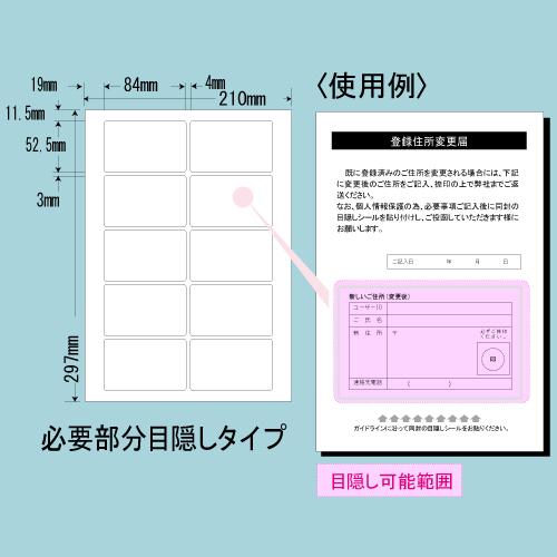 東洋印刷 目隠しラベル nana 必要部分目隠しタイプ A4 250シート PCL-35: