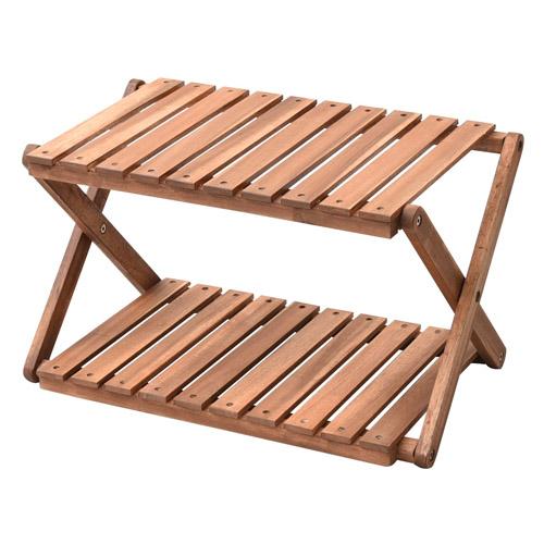 山善 木製ラック キャンパーズコレクション 2段ラック ブラウン 折り畳み式 A2R-01: