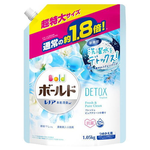 P&G 洗濯洗剤 ボールド フレッシュピュアクリーンの香り つめかえ用 超特大 1.05kg: